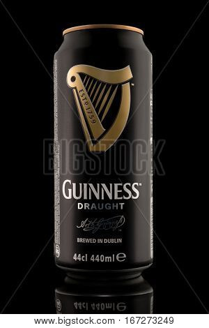 Kiev, Ukraine - December 15, 2016: Guinness Draught, The Popular Irish Beer, Isolated On A Black Bac