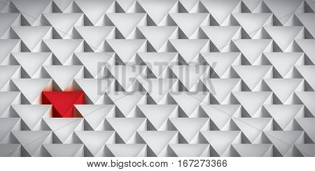 Realistic texture, volume triangles, gray geometric pattern with a red insert, vector design 3d wallpaper