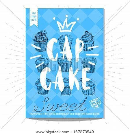 Set colorful sweet labels. Cap cake, sweet, dessert, crown, heart, best choice. Retro background. Sketch style, posters, hand drawn vector.