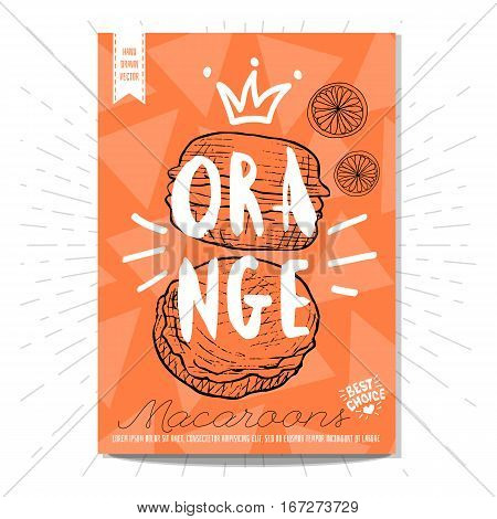 Colorful macaroons label. Macaroons, orange, heart, best choice. Retro background. Sketch style, posters, hand drawn vector.