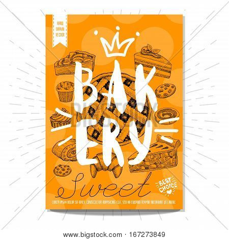Set colorful sweet labels. Bakery, sweet, capcake, cake, biscuits, cookie, dessert, pie, crown, heart, best choice. Retro background. Sketch style, posters, hand drawn vector.