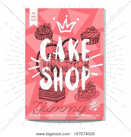 Set colorful sweet labels. Cake shop, sweet, yummy, dessert, crown, heart, best choice. Retro background. Sketch style, posters, hand drawn vector.