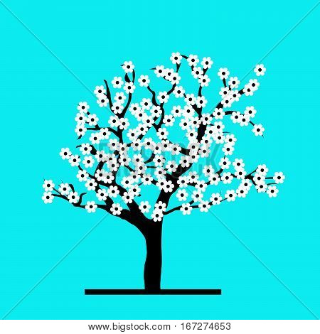 Stylized cherry tree with white flowers on blue background