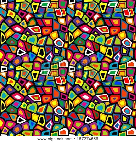 Colorful mosaic seamless pattern with geometrical shapes