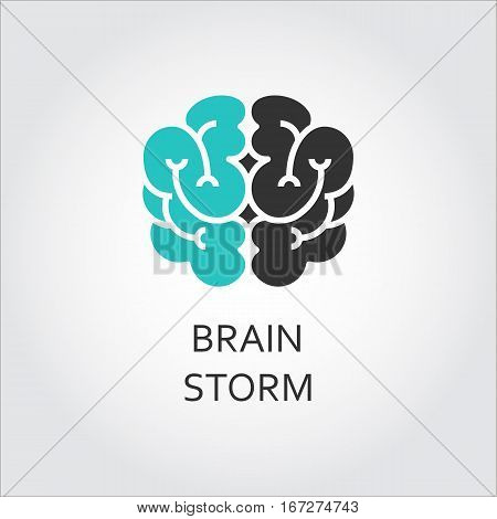 Black and green icon of brain, brainstorm concept. Vector contour graphics for button, websites, mobile apps and other design needs