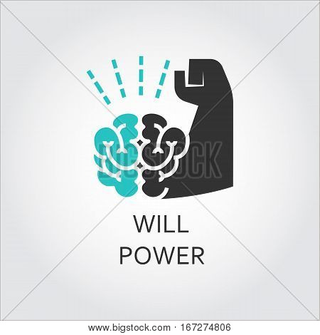 Icon of brain and muscle hand. Willpower concept. Business, healthy lifestyle theme. Vector contour graphics drawn in flat style. Black and green shape pictograph for your design needs