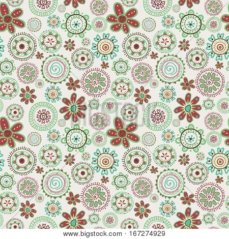 Floral retro seamless pattern with stylized flowers