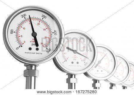 Row of Pressure Gauge Manometers on a white background. 3d Rendering.