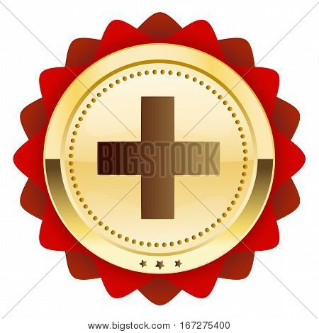 First aid seal or icon with cross symbol. Glossy golden seal or button.
