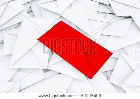 White Blank Envelope Letters Heap with Red One in Centre on a white background. 3d Rendering