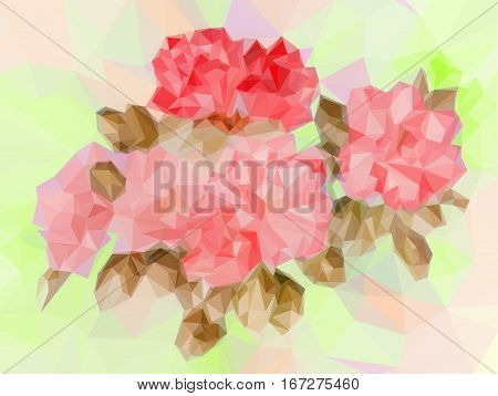 Background with Colorful Low Poly Floral Pattern. Vector