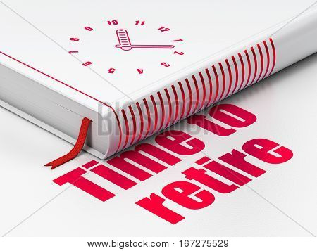 Timeline concept: closed book with Red Clock icon and text Time To Retire on floor, white background, 3D rendering