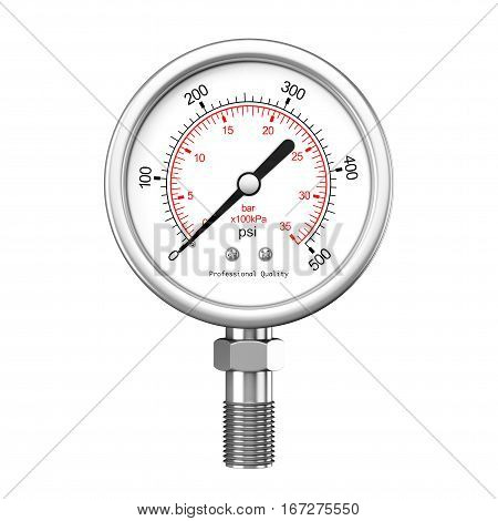 Pressure Gauge Manometer on a white background. 3d Rendering.