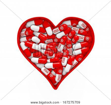 Red Heart Box with Medical Pills on a white background. 3d Rendering.