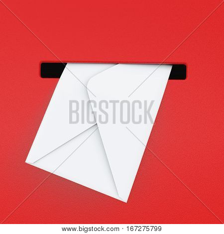 White Envelope in Red Mailbox extreme closeup. 3d Rendering.