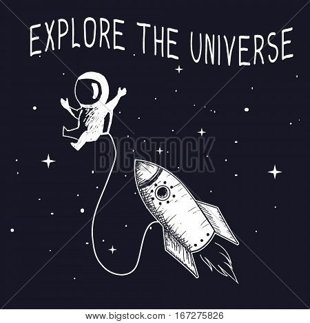 Little astronaut travel in outer space.Explore the universe.Vector illustration