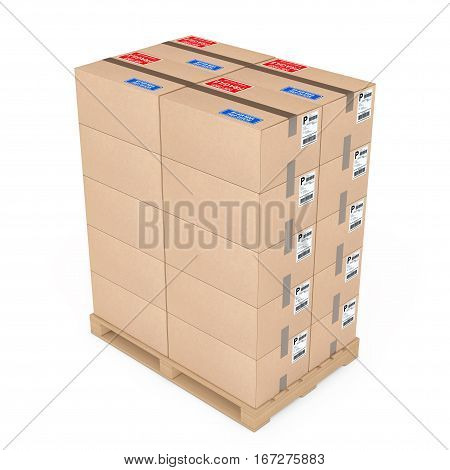 Logistics concept. Cardboard boxes on wooden palette on a white background. 3d Rendering.