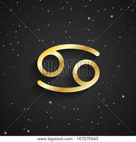 Cancer zodiac symbol gold zodiac icon on the background of black starry sky