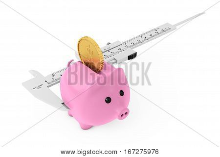 Size of Savings Concept. Piggy Bank with Golden Coin and Vernier Caliper Sliding Gauge on a white background. 3d Rendering.