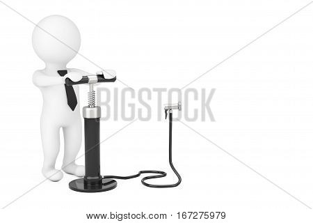 3d Person with Black Hand Air Pump near Blank Spase for Your Object or Text on a white background. 3d Rendering