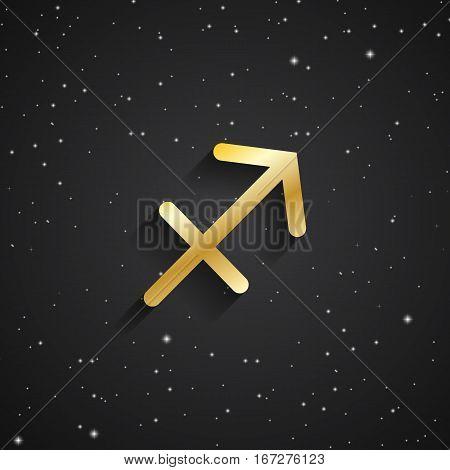 Sgittarius zodiac symbol gold zodiac icon on the background of black starry sky