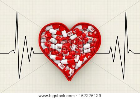 Red Heart Box with Pills on a Cardiogram Background extreme closeup. 3d Rendering.