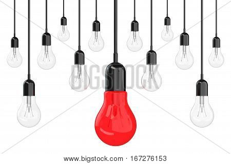 Ideas Concept. Many Light Bulbs with One Red in Centre on a white background. 3d Rendering.