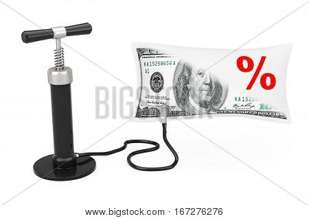 Black Hand Air Pump Inflates US Dollars Balloon with Percent Sign on a white background. 3d Rendering
