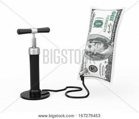 Black Hand Air Pump Inflates US Dollars Balloon on a white background. 3d Rendering