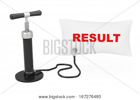 Black Hand Air Pump Inflates Balloon with Result Sign on a white background. 3d Rendering
