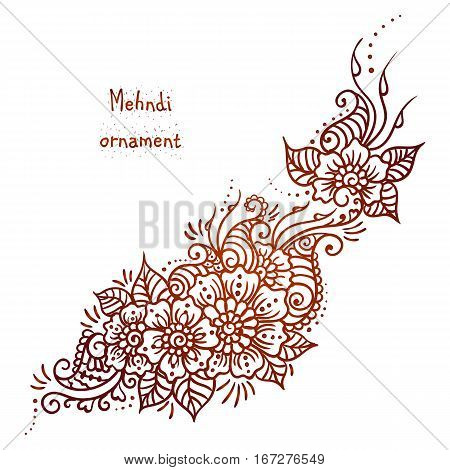 Vector ethnic mehndi pattern. Template for mehndi ornament. Hand drawn detailed outline pattern. Ornamental flowers. Set of indian style ornaments. Floral mehndi ornamental elements.Henna illustration