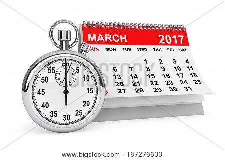 2017 year calendar. March calendar with stopwatch on a white background. 3d rendering