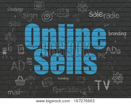 Advertising concept: Painted blue text Online Sells on Black Brick wall background with Scheme Of Hand Drawn Marketing Icons