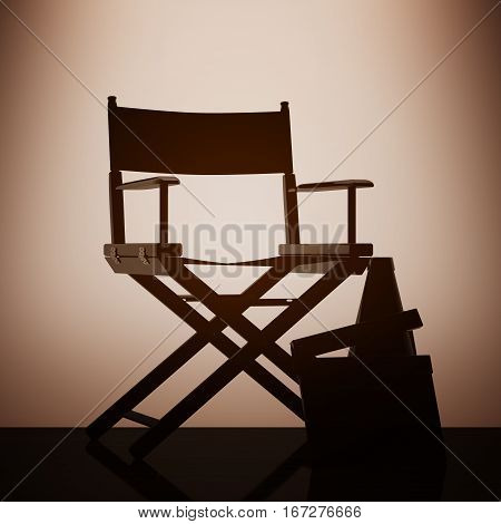 Director Chair Movie Clapper and Megaphone with backlight over Wall in dark room. 3d Rendering