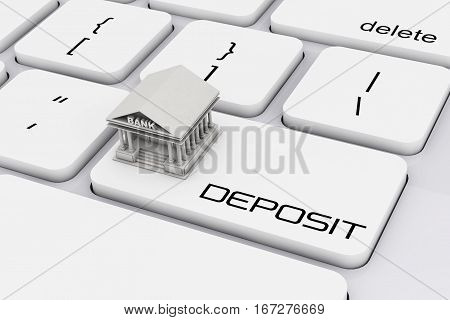Bank Building over Computer Keyboard with Deposit Sign extreme closeup. 3d Rendering.