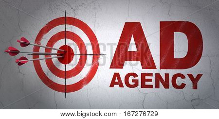 Success marketing concept: arrows hitting the center of target, Red Ad Agency on wall background, 3D rendering