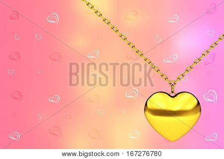 Heart Medallion on chain in front of Background with Many Hearts. 3d Rendering
