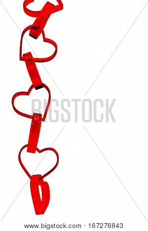 Plastic Red Hearts connected in Chaine on a white background. 3d Rendering.