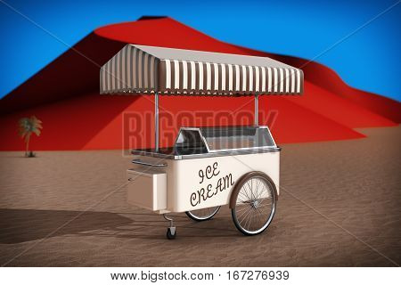 Ice cream cart in Abstract Desert with Red Dunes extreme closeup. 3d Rendering