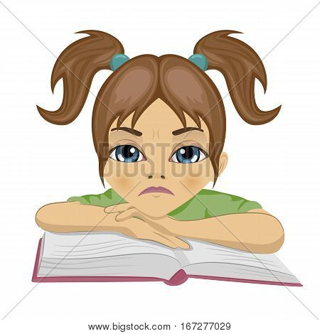 sad cute schoolgirl keeping her arms on open book on white background