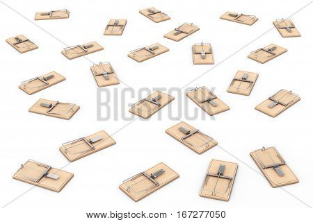 Many Wooden Mousetraps on a white background. 3d Rendering.