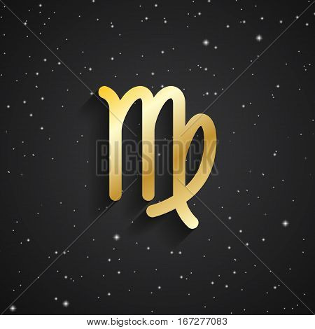 Virgo zodiac symbol gold zodiac icon on the background of black starry sky