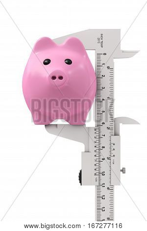 Size of Savings Concept. Piggy Bank with Vernier Caliper Sliding Gauge on a white background. 3d Rendering.