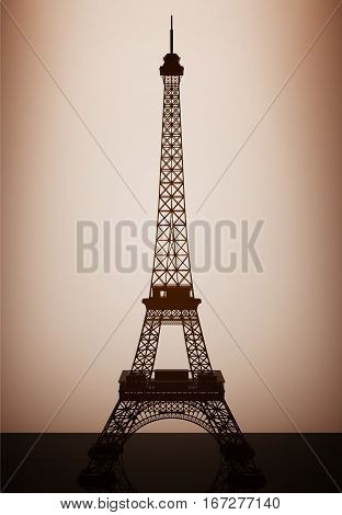 Eiffel Tower Model with backlight over Wall in dark room. 3d Rendering