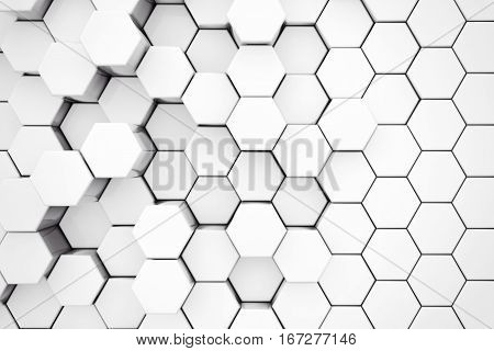 Background of Metal White Hexagon extreme closeup. 3d Rendering.