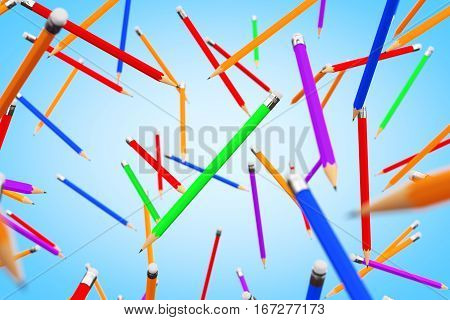 Many Multicolour Pencils Flying on a blue background. 3d Rendering
