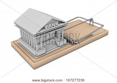 Credit Risk Concept. Bank Building over Wooden Mousetrap on a white background. 3d Rendering.