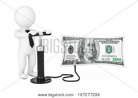 3d Person with Black Hand Air Pump Inflates US Dollars Balloon on a white background. 3d Rendering