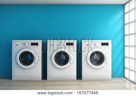 Modern Washing Machines in the Room in front of blue wall. 3d Rendering.