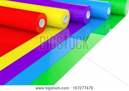 Multicolor PVC Polythene Plastic Tape Rolls or Foil on a white background. 3d Rendering.